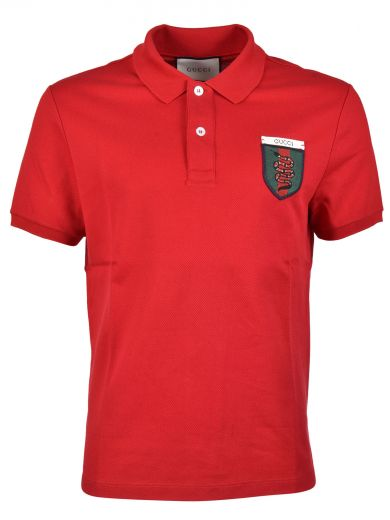 e34c52dcf Gucci Snake-Crest Cotton-Blend Polo Shirt In Red | ModeSens