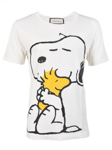 8baa0886 Gucci Snoopy And Woodstock-Print Cotton T-Shirt In White Cotton ...