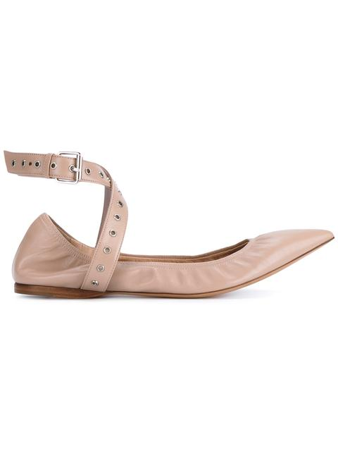 44224b9fdd526 Valentino Love Latch Point-Toe Leather Ballet Flats In Powder | ModeSens