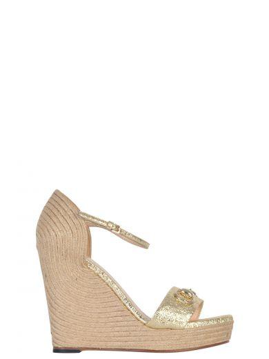 6ef13f93dada Gucci Carolina Metallic Leather Corded Wedge Sandals In Metallic Laminate  Leather