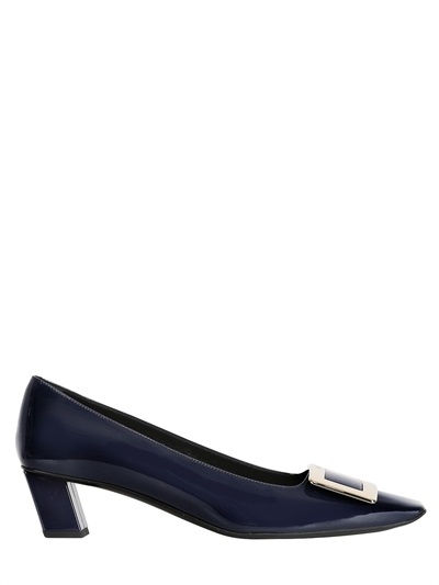 Roger Vivier 45mm Belle Vivier Patent Leather Pumps, Black In Navy