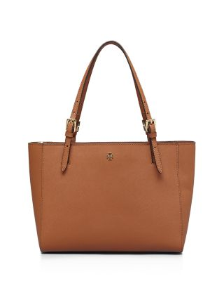 Tory Burch York Small Saffiano-Leather Tote In Luggage/Gold