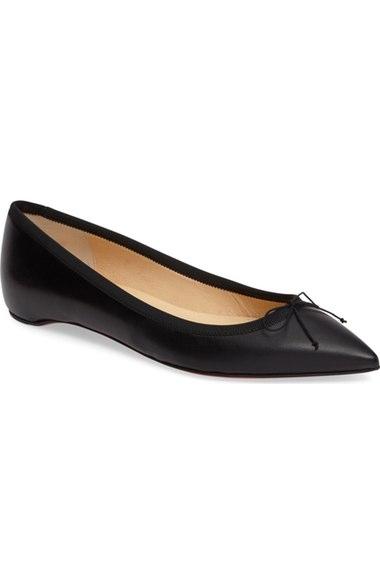 Christian Louboutin Solasofia Pointy Toe Flat In Black Leather