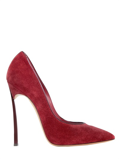 Casadei 120mm Blade Suede & Patent Leather Pumps, Burgundy