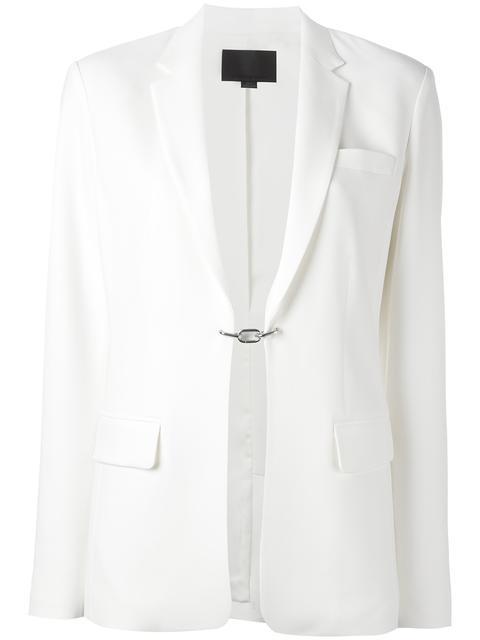Alexander Wang Drape Poly Twill Front Tie Tux Blazer In Vanilla