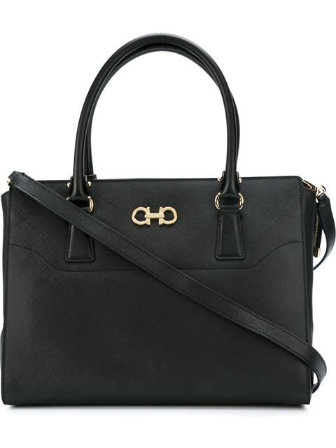 Salvatore Ferragamo Double Gancio Tote - Black