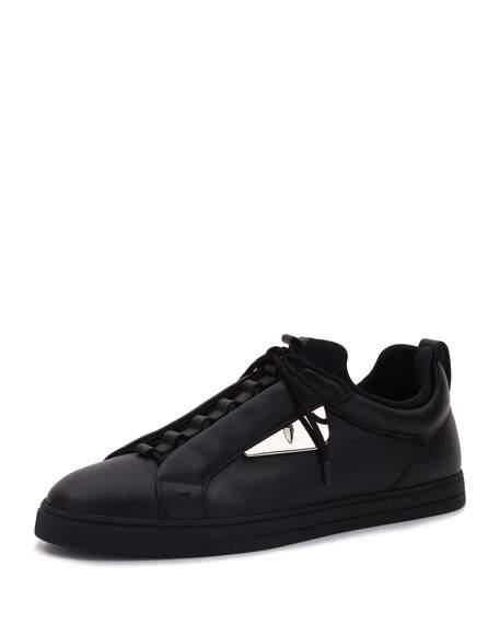 a690359d4e MONSTER LEATHER LOW-TOP SNEAKER, BLACK