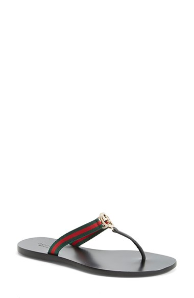 0b5215943e3 Gucci New Gg Canvas   Leather Signature Thong Sandals In Black-Multi ...