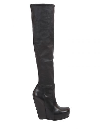 Rick Owens High Stretch Boots In Nero