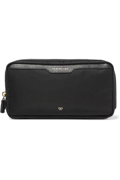 Anya Hindmarch Suncreams Leather-Trimmed Shell Cosmetics Case In Black