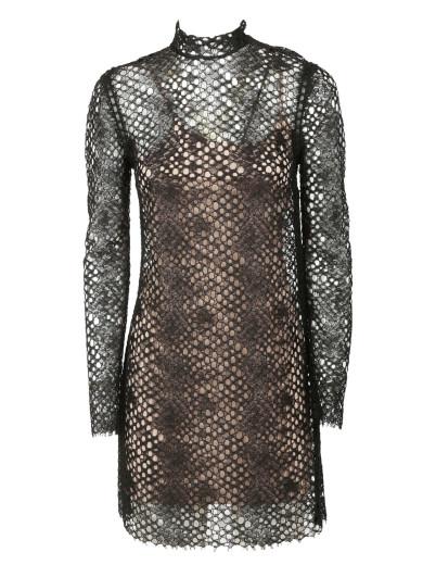 Alexander Wang Python-lace Long-sleeve Turtleneck Dress, Jet In Black