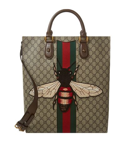 8fd3e9f6c98300 Gucci Men'S Bee-Embroidered Gg Supreme Canvas Tote Bag, Tan In Beige ...