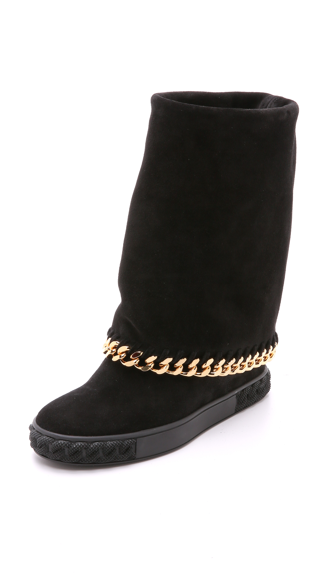 Casadei Hidden Wedge Fold Over Boots In Black