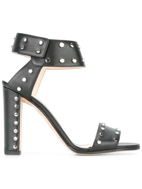 Jimmy Choo Veto 100 Black Shiny Leather Sandals With Silver Studs