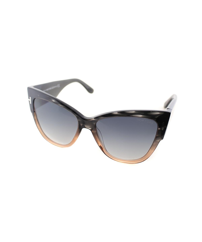 Tom Ford Anoushka Cat-eye Plastic Sunglasses In Melange Grey Peach