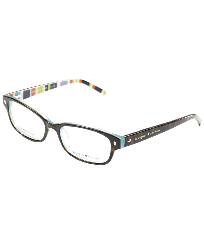 Kate Spade Rectangle Plastic Eyeglasses In Tortoise Aqua Striped