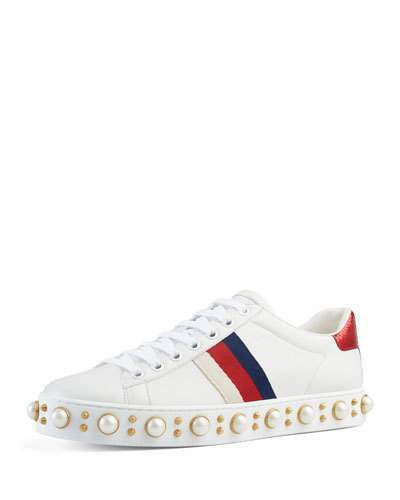 ad497568b Gucci New Ace Faux-Pearl Embellished Leather Trainers In White ...