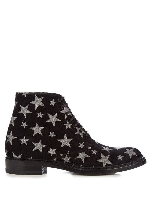 51adffa5dec Saint Laurent Lolita 20 Lace-Up Boot In Black Suede And Silver Glitter