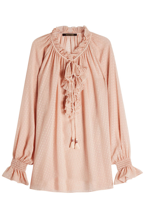 72f13a5ad458eb Roberto Cavalli Ruffle-Trimmed Silk-Georgette Blouse In Llush