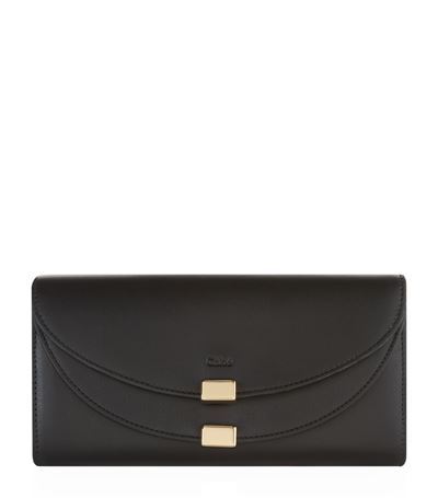 ChloÉ Georgia Leather Continental Wallet In Black
