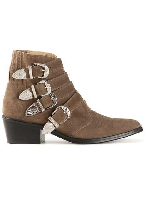 Toga Buckled Suede Booties In Khaki