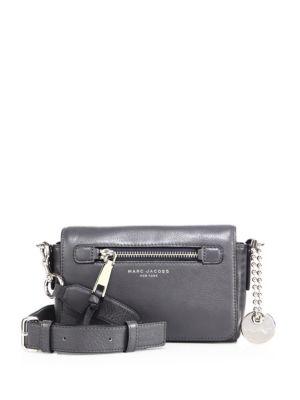 b82b0cba9fa0 Marc Jacobs Recruit Shadow Leather Crossbody Bag In Shadow Gray Silver