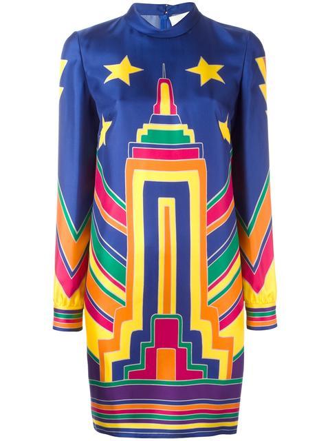 7972c7f0baf Valentino Skyline-Print High-Neck Tunic Dress In Blue | ModeSens