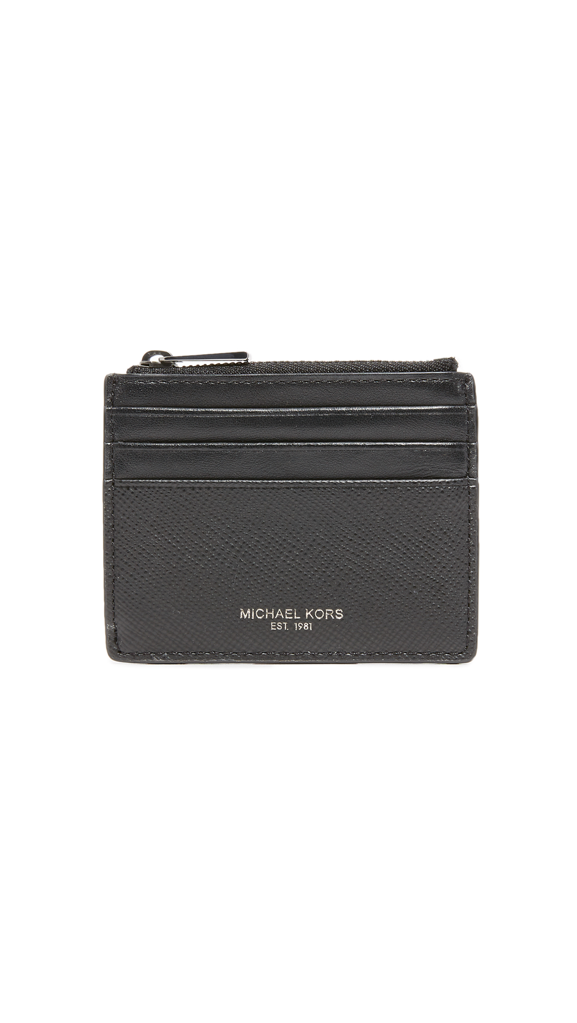 Michael Kors Harrison Leather Card Holder In Black