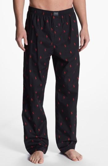 Polo Ralph Lauren Men's Polo Player Pajama Pants In Black/red