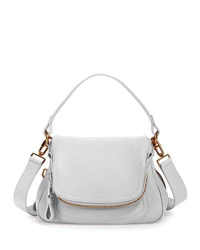 Tom Ford Jennifer Medium Grained Leather Shoulder Bag In White