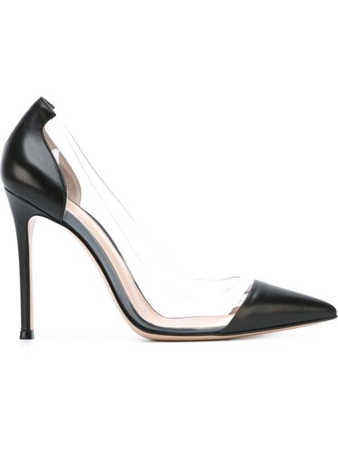 Gianvito Rossi Clear Pvc Patent Leather Pumps In Black