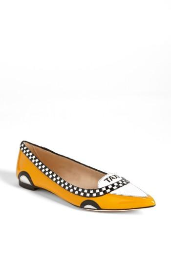 Kate Spade Go Taxi Pointed-toe Flat In Taxi Yellow