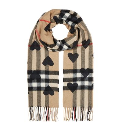 Burberry Cashmere Heart And Check Printed Scarf, Brown/black In Harrods
