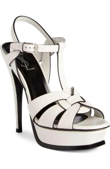 Saint Laurent Tribute Leather Platform Sandals In White Leather