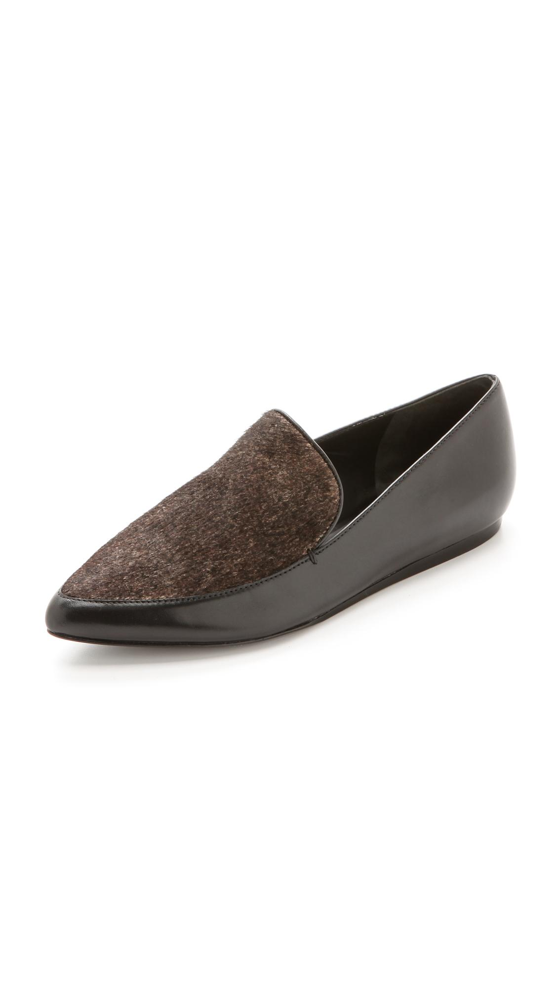 Vince Nikita Calf Hair & Leather Point-toe Loafers In Black/white/black