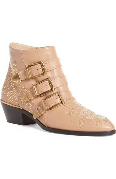 ChloÉ Susanna Studded Leather Ankle Boots In 26u Reef Sh