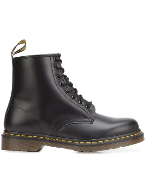 Dr. Martens 1460 Serena 8-eye Leather And Faux-shearling Boots In Black