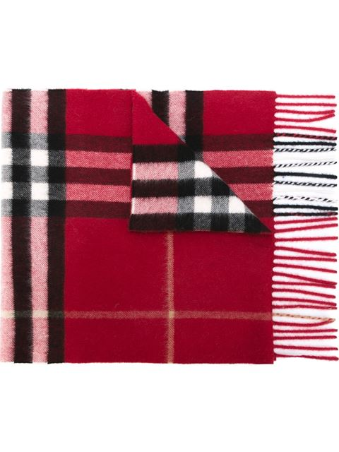 Burberry The Classic Check Cashmere Scarf In Red
