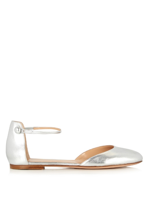 Gianvito Rossi Ankle-strap Leather Flats In Silver
