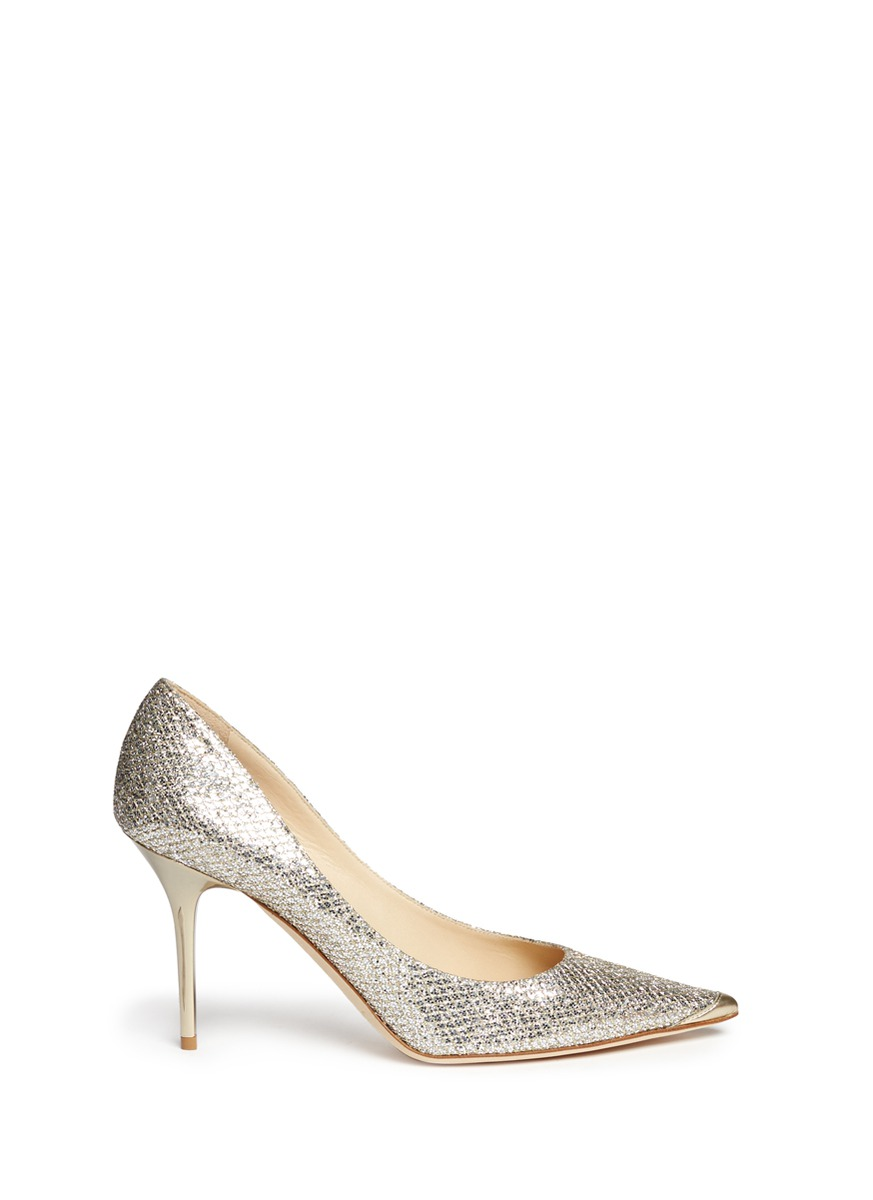 25af27aa7bd3 Jimmy Choo Abel Champagne Glitter Pointy Toe Stiletto Pumps