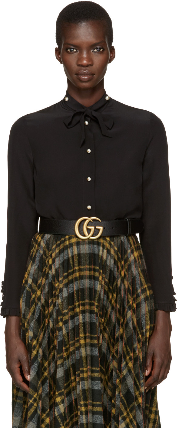 Gucci Pearl Button-down Shirt In 1000 Black
