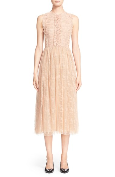 Jason Wu Ruffle Trim Abstract Houndstooth Lace Dress In Fawn