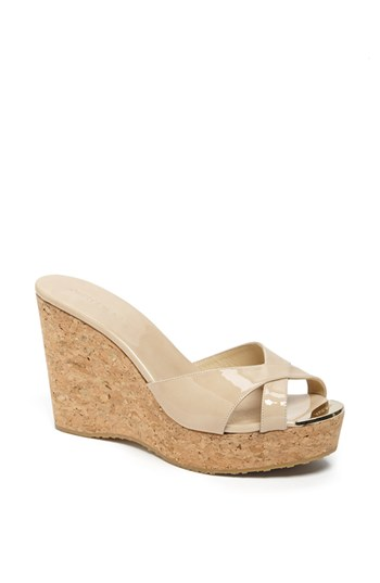 c0706532459 Jimmy Choo Perfume 120 Patent Leather And Cork Wedge Sandals In Nude ...