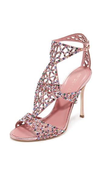 0df9640e90e Sergio Rossi Baby Rose Swarovski Crystal Tresor Gladiator High Heel Sandals