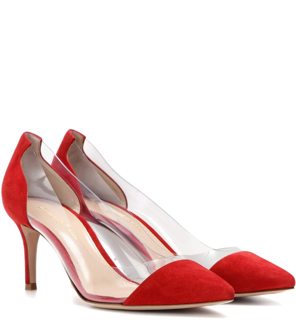 61d72382cb6 Gianvito Rossi Exclusive To Mytheresa.Com – Plexi 70 Suede Pumps In Talasco  Red