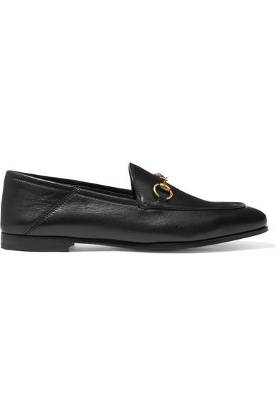 Gucci Brixton Horsebit-detailed Leather Collapsible-heel Loafers In Black Leather