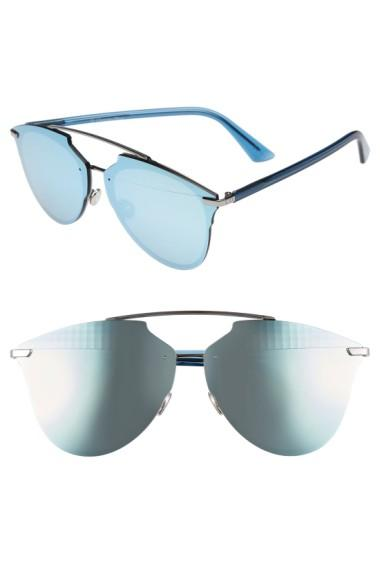 fdc142a7bdc1 Dior Reflected Prism 63Mm Oversize Mirrored Brow Bar Sunglasses -  Ruthenium/ Blue