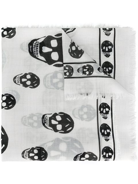 Alexander Mcqueen Classic Skull Printed Silk Chiffon Scarf In Neutrals