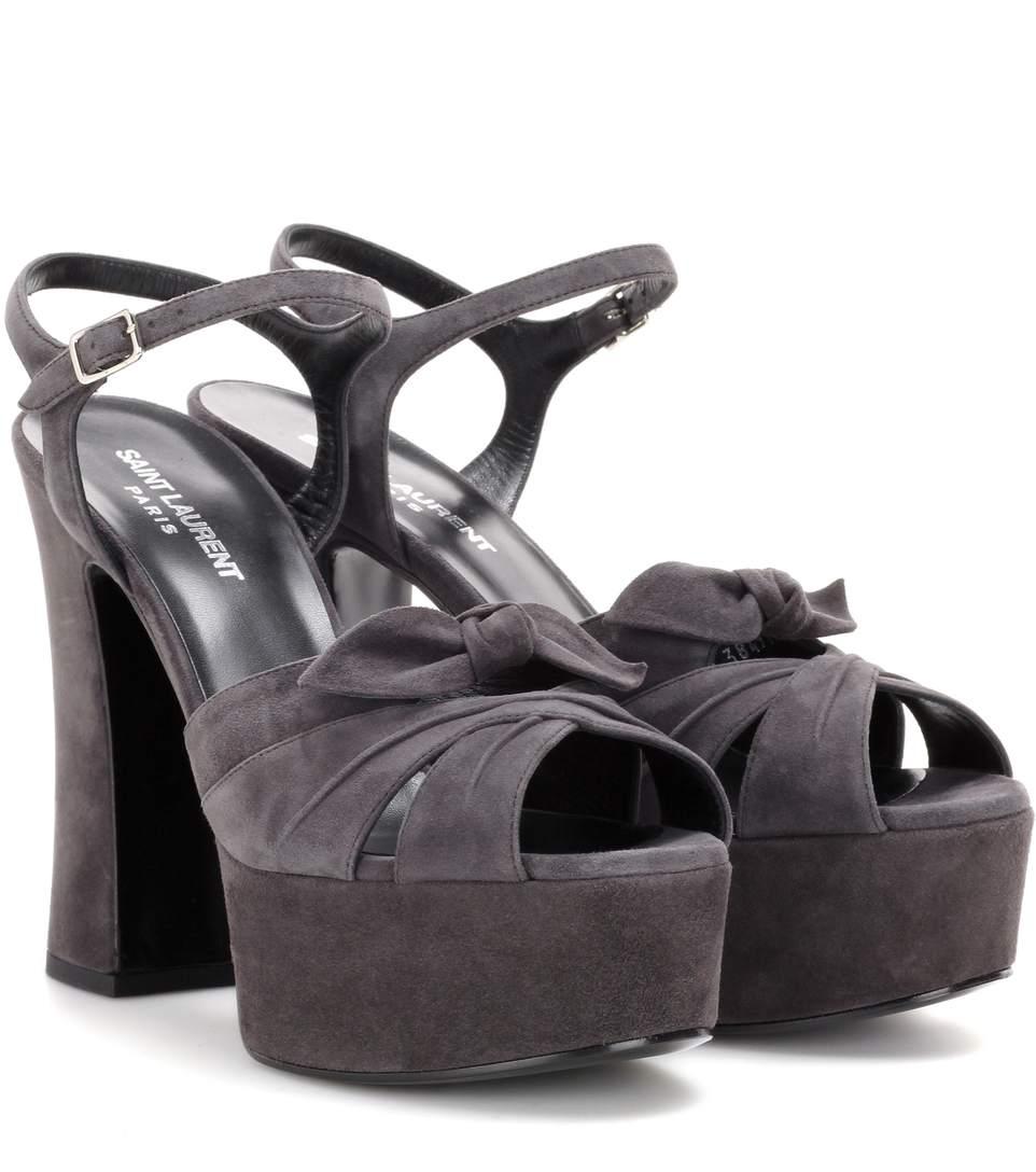 Saint Laurent Candy Suede Crisscross Platform Sandals In Black