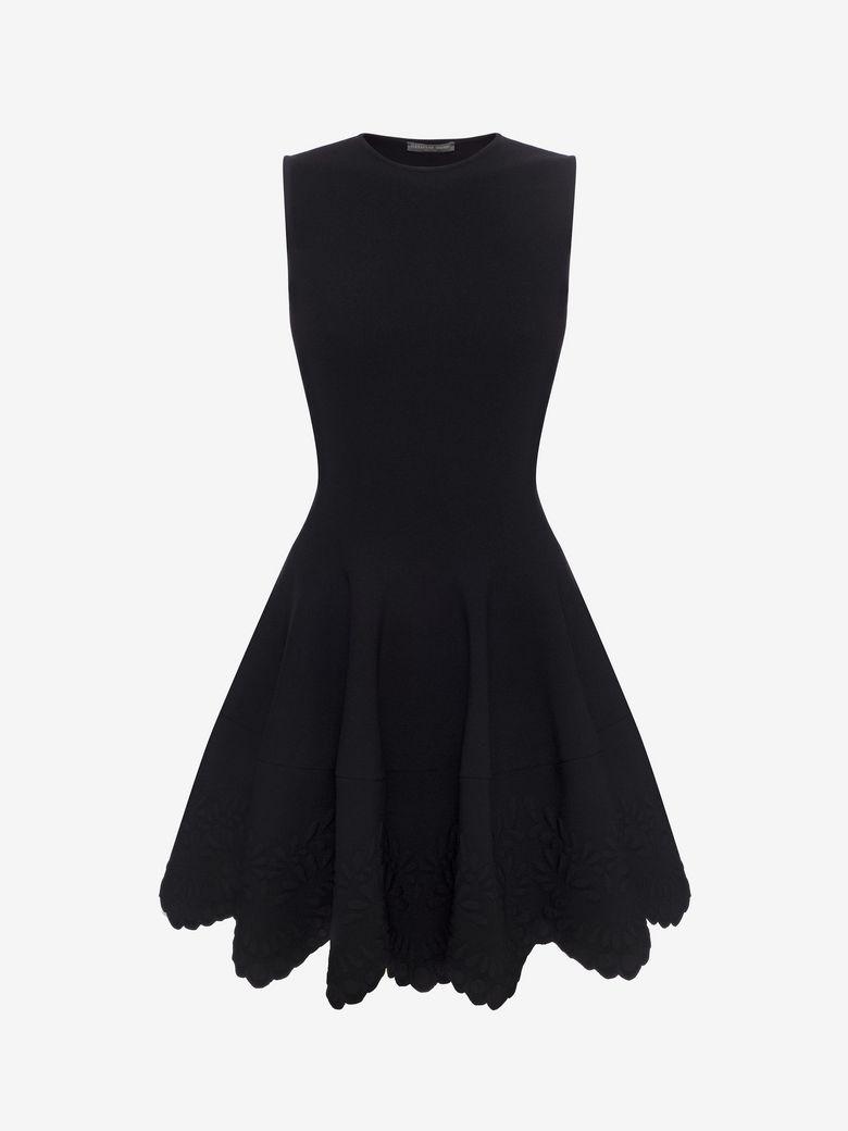 Alexander Mcqueen Sleeveless Floral-embossed Dress In Black
